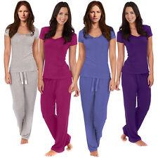 Womens Bow Trim Comfy PJ Pyjama Set Viscose PJ's Pyjamas Ladies Lounge Wear