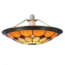 Brown Tiffany Bistro Style Uplighter Ceiling Light Pendant Shade - Large UPL28