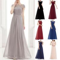 Women's Floral Formal Lace Vintage Short Sleeve Slim Wedding Maxi Dress