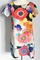 Next SP Women's Dress Red Blue Size 8 Floral Shift Sheer VGC