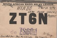 Vintage QSL Radio Cards Johannesburg South African Radio League ZT6N Posted