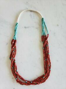 "$900 5 Strand Necklace Heshi VTG Turquoise Coral Beads 30"" 100 Gram"