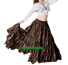 Satin 12 Yard 5 Tiered Gypsy Skirt Belly Dance Tribal Ruffle Jupe Flamenco Roke
