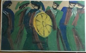 Featival Quan Ho  Bacninh  Orig oil painting paper  DO VH  b1948