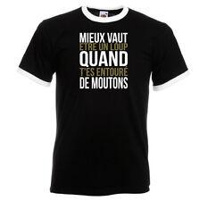 T-shirt contrasté homme mc NOIR/BLANC MIEUX VAUT ETRE UN LOUP QUAND...