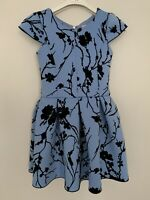 Zoe Ltd. Girls Party Dress Age 8 Years Navy Blue Flower Print Fit and Flare