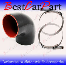 "BLACK Silicone 90 Degree Elbow Coupler Hose 3.5"" 89 mm + T-Bolt Clamps NS"