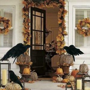 1X Halloween Stuffed Feather Crow Bird Black Ravens Fancy Dress Prop Decor 2021