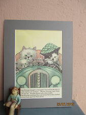 vintage illustration of cat family on a motor trip by Bertha  Boyd 1938
