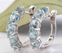 2.40 Carats Natural Aquamarine 14k  Solid White Gold Huggie Earrings