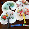 Paper Hand Fan Folding Wedding Party Favor Flower Bird Chinese Decor Hand-F C1D8