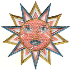 Gold Blue Peach Pagan Astrology Sun Face Embroidery Patch