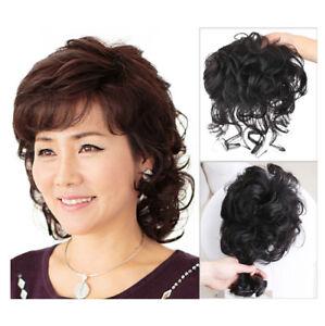 25cm Wavy Virgin Human Hair Topper Clip in Hair Top Piece Extension Cover Grey