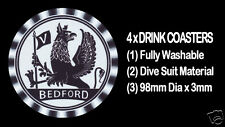 4  x  BEDFORD TRUCK COMMERCIAL, EARLY GRIFFIN HORN BUTTON  - DRINK COASTERS
