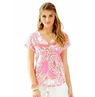 Lilly Pulitzer Duval Top Hot Coral Trunk in Love Size M 12238