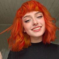 Women Orange Brazilian Short Wavy Curly Parting High Temperature Fiber Wig Hair