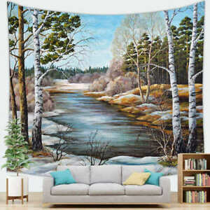 Oil Painting Country Autumn Forest Tree Wall Hanging Natural Scenery Tapestry