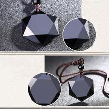 Schwarze Charme Hexagramm Obsidian Mexikaner Glück Amulett Anhänger Kette Unisex