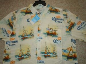 SAFE!!! RARE CORONA BEER Aloha Shirt New with TAGS!!!! MEDIUM