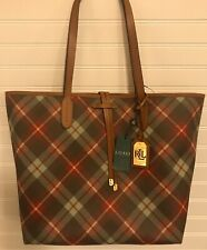Ralph Lauren Plaid Hobo Shoulder Handbag Unlined Crawley - NWT