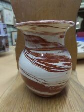 "VTG MIDCENTURY Mission Swirl POTTERY VASE Artist Signed Arts & Crafts 4"" tall"