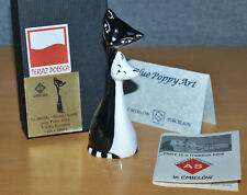 More details for lovely cmielow polish porcelain stylised black & white cats figurine, boxed