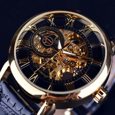 Luxury Skeleton Leather Automatic Mechanical Steampunk Men Stainless Steel Watch