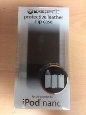 Exspect Leather Flip Case Slip Cover BLACK for iPod Nano 4th Gen NEW UK