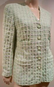 ESCADA BY MARGARETHA LEY Mint Green & Cream Check Cotton Blazer Jacket 40 UK12