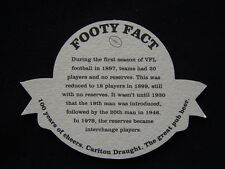 CARLTON DRAUGHT 100 YEARS OF CHEERS 1897 1996 FOOTY FACT 20 PLAYERS COASTER