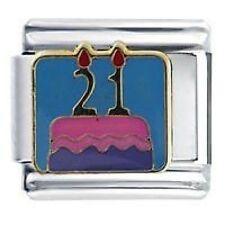 21st joyeux anniversaire gâteau - breloques fantaisies Fits Classic size Italian