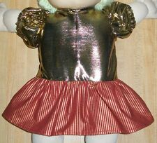 """16"""" CPK Cabbage Patch Kids CHRISTMAS DRESS W/ GOLD TOP+SKIRT W/ STRIPES RED+GOLD"""