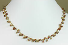 Zircon Necklace faceted natural red multicolored beaded cluster 14k gold F 18 19