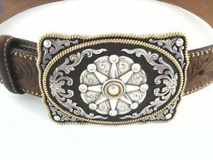 Tony Lama Womens  C50649 Cowgirl Western Tooled Leather Belt & Buckle Star Sz 30