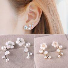 New Women Fashion Crystal Rhinestone Pearl Earrings Lady Flower Ear Stud Jewelry