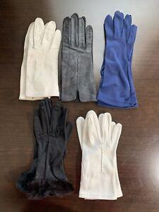 Vintage Leather OffWhite, Black, Fabric White, Navy & Black Faux gloves lot 5 pr