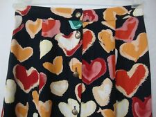 Coldwater Creek Medium Long Modest A-Line Skirt Colorful Hearts Button Up USA