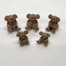 5 Dollhouse Miniature Shadowbox Size Artist Clay Koala Bear Figurines
