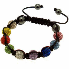 Multi-Coloured Rainbow Shamballa Bracelet, 9 Crystal Balls, Friendship, Birthday