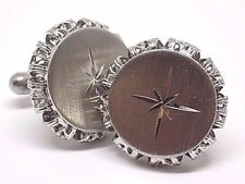 Vintage, Rare Brushed Silver Star Cufflinks, W/Gift Box!
