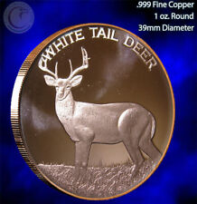 """""""White Tail Deer"""" 1 oz .999 Copper Round Part of the Wildlife Series"""