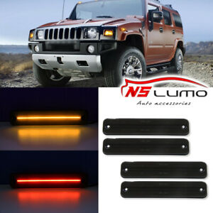 4Pcs Front & Rear LED Side Marker Light For Hummer H2 2003-2009 Smoked Red Amber
