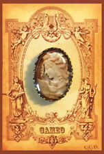 CAMEO ~ WOMAN  GODDESS  W/OWL 18X25 GLASS OVAL DOME BUTTON Filigree FROM VINTAGE