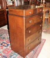 English Oak Wood Art Deco Small 6 Drawer Chest of Drawers | Bedroom Furniture