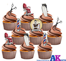 15 Edible Wafer Cake Toppers Decoration Barber Chair Pole Scissors Clippers Mix