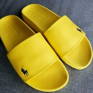 NWT POLO Ralph Lauren CAYSON SM PONY SLIDES Athletic Sandal YELLOW Mens 8-13