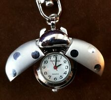 Vintage (Ladies) Silver-Tone Key Ring Watch. Ladybird with Moving Wings. FWO