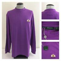 NWT Bobby Jones Mens 2XL Purple Mock Neck Nevillewood Golf Polo Shirt $99