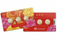 2019 YEAR OF THE PIG 3 COIN Set on Card