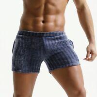 Mens corduroy Shorts Vintage Breathable soft trunk elastic waist side pocket